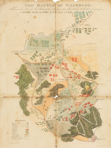 Waterloo, 1815, Battle Plan, First Commercial Map of Campaign