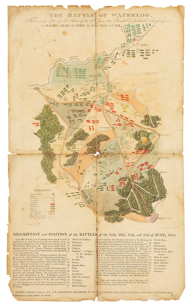 Waterloo, 1815, Battle Map with Description & Positions