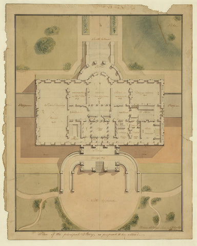 Washington, D.C., 1800s, White House Plan, Watercolor