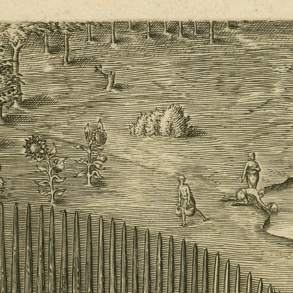 Virginia, 1590, Pomeiooc Village, John White, Thomas Hariot, De Bry, Engraving, Fine Art Print (II)