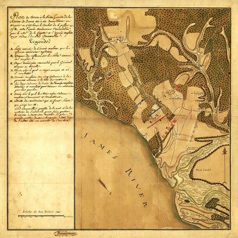 Williamsburg, 1781, Virginia, Battle of Green Spring, Revolutionary War Map