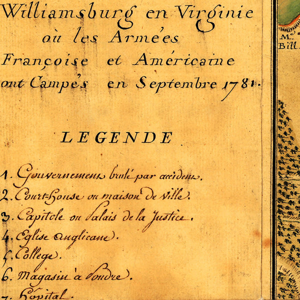 Williamsburg, 1781, Virginia, Rochambeau's Army, Revolutionary War Map