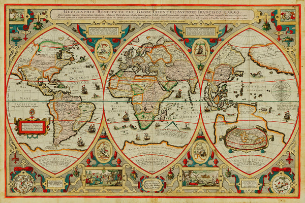 World, 1618, Verhaer, Geographia Restituta, Antique Map
