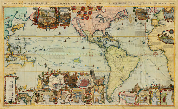 World, 1719, Americas, Pacific, Chatelain, Antique Map