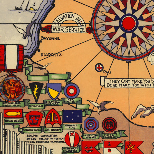 American Expeditionary Force in Europe, WWI Historical Map