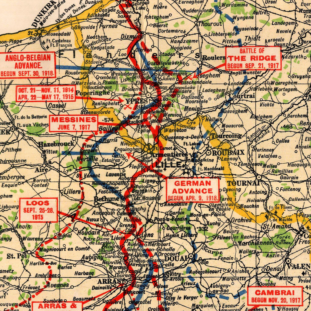 Europe, 1914-1918, Western Front, Vintage WWI Map