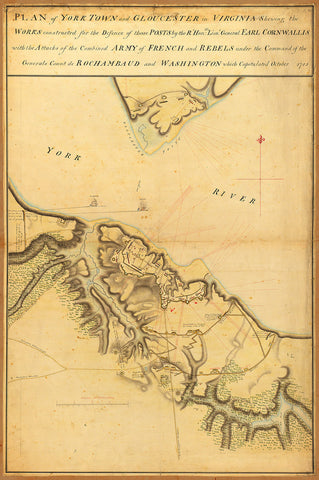 Yorktown, 1781, Cornwallis' Plan, Revolutionary War Map