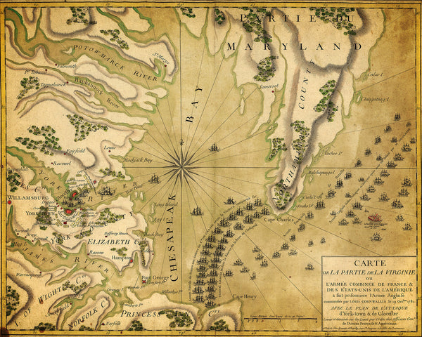 Yorktown, 1781, French Naval Plan (I), Revolutionary War Map