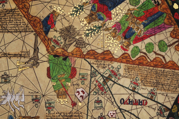 Medieval Map, All Kingdoms of the World, Catalan Atlas, 1375, 4-panel Set