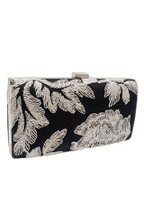 Black & white embroidery clutch