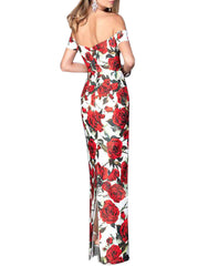 Red Floral Printed Maxi