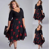 Women Plus Size Sexy V-Neck Floral Maxi Evening Party Boho Beach Dress - Happidtime