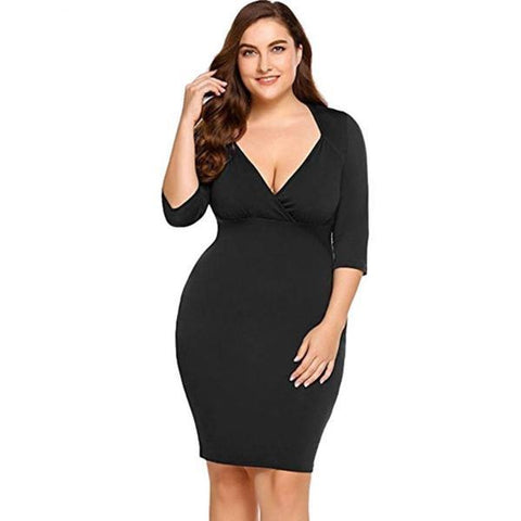Plus Size Sheath Dress Women Three Quarter Sexy V-Neck Plus Evening Party Midi Casual Short Mini Dress Female vestidos#3 - Happidtime