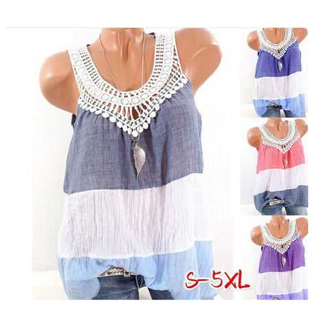 The  Round Collar Vest  Lace Splicing Color Sleeveless