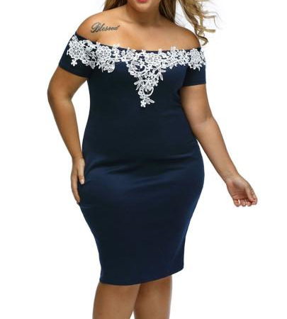 Women Wear Plus Size patchwork of dress
