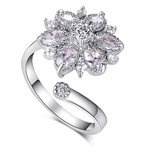 Big Flower Adjustable  Cubic Zirconia Fine Quality White Color Elegant Ladies Rings
