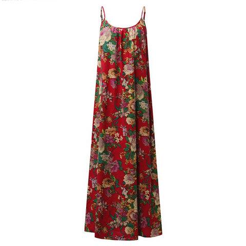 Women  Dress Floral Print Sleeveless Strappy Kaftan  Dress
