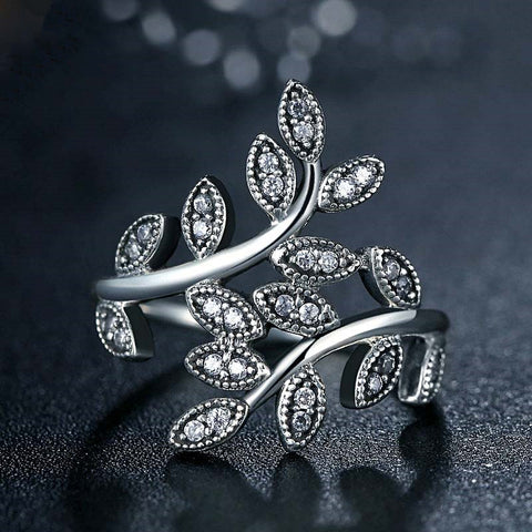 Silver Color Sparkling Leaves Sliver With Cubic Zirconia  Rings