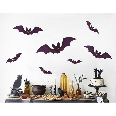 96 PCS Halloween Party Decorations Bat Window Clings Decal Stickers Supplies(12 Sheets) - Happidtime