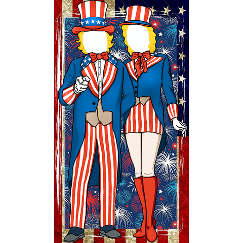 Patriotic Fourth of July Uncle Sam Photo Door Banner Backdrop Props- 4th of July Party Favors Supplies Decorations - Happidtime