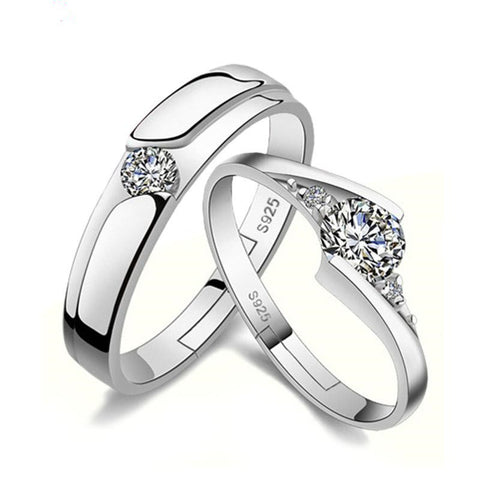 Lover Couple Ring Opening Design Crystal Inlay Silver Plated Prevent allergy Jewelry