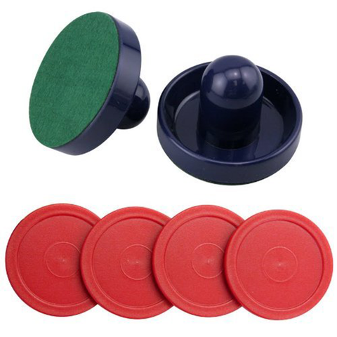 Blue Air Hockey Pushers Set of 2 and 4 Red Pucks by Jollylife - Happidtime