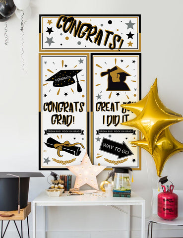 Graduation Backdrop Banner Party Decorations Supplies 2019 - Grad Congrats Photo Booth Wall Party Decor