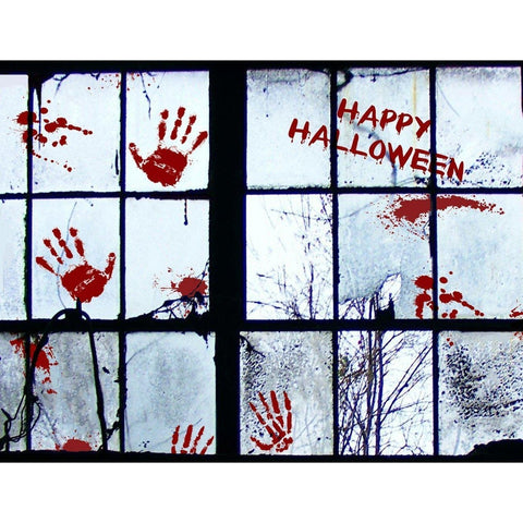 56 PCS Bloody Handprint Window Clings Wall - Halloween Vampire Zombie Party Decals Stickers Decorations (4 Sheets) - Happidtime
