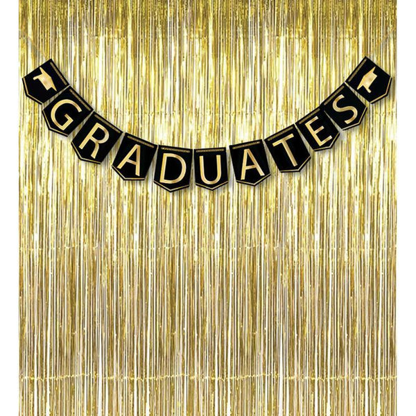2017 Graduation Banner Decorations Grad Foil Metallic Fringe Curtains - Black Gold Party Supplies Ornaments