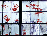 56 PCS Bloody Halloween Window Clings Wall - Vampire Zombie Party Handprint Decals Decorations