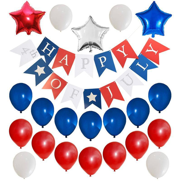 Fourth/4th of July Patriotic Decorations Bundle - Red/White/Blue Banner Star Balloons