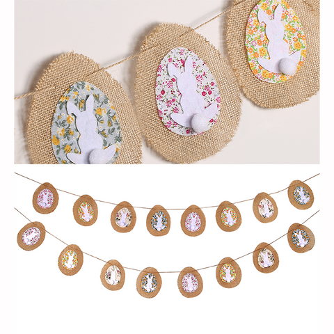 4.5m Easter Eggs Bunny Banners Garland Flags Burlap Bunting - Happidtime