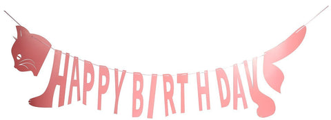 Happy Birthday Pink Banner Cat Shaped Party Supplies Decorations Bunting Flag