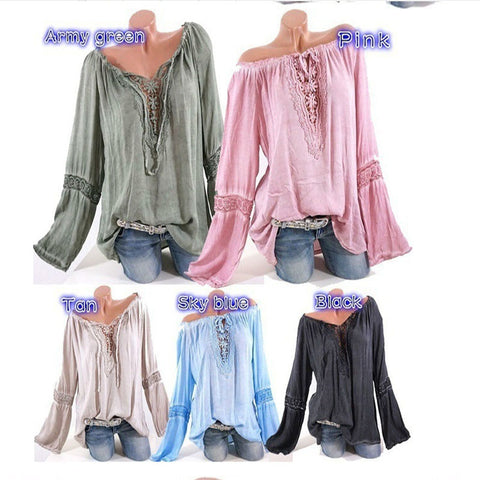Plus Size S-5XL Women Casual Out Shoulder Long Sleeve T-shirts