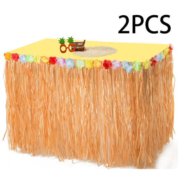 Luau Hawaiian Grass Table Skirt Decorations - Hula Hibiscus Tropical Birthday Summer Pool Party Supplies(2 PACK)