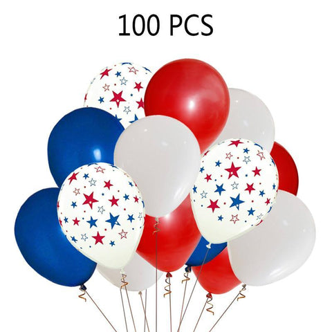 Patriotic Decorations Star Latex Balloons - Red Blue White - Fourth of July Party Supplies(100Ct) - Happidtime