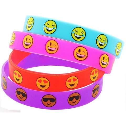 36 PCS Emoji Smiley Face Emoticon Rubber Wristbands Bracelets - Happidtime