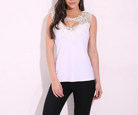 Women Sexy Lace Tops Crochet Sleeveless Blouse Summer V-neck Hollow Out Shirts Casual Solid Blusa Fitted Vest Plus Size - Happidtime