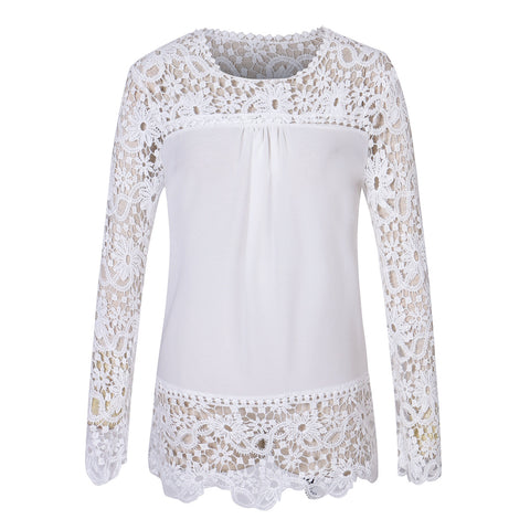 Fashion Women  Blouse Lace  Chiffon Long Sleeve