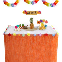 Luau Hawaiian Table Skirts Decorations -- Hibiscus Tropical Flowers Pool Party Supplies