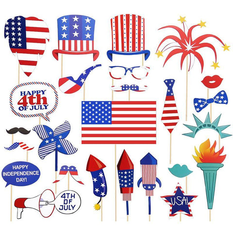 36 Ct Fourth of July Photo Booth Props - Happidtime