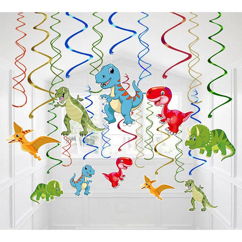30 Ct Dinosaur Hanging Swirl Decorations