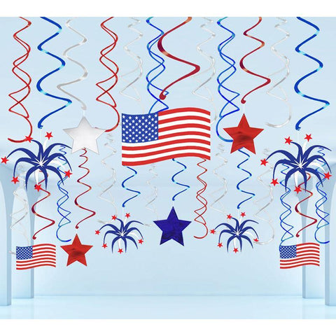 29 Ct Fourth of July Hanging Swirl Decorations