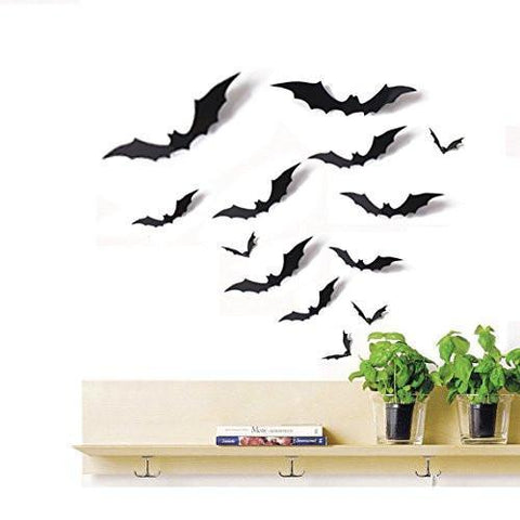 24 PCS Bat Cutouts 3D Assorted Sizes Black - Halloween Party Home Wall Sticker Decoration Supplies