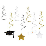 30 Ct Graduation Hanging Swirl Decorations - Grad Star/Mortarboards/Diplomas Ceiling Foil Party Ornaments - Happidtime