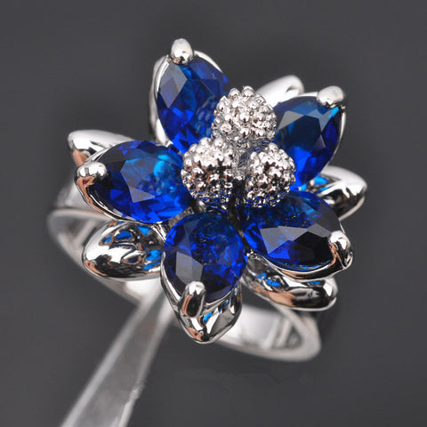 Flower Blue Stone Cubic Zirconia Jewelry Ring