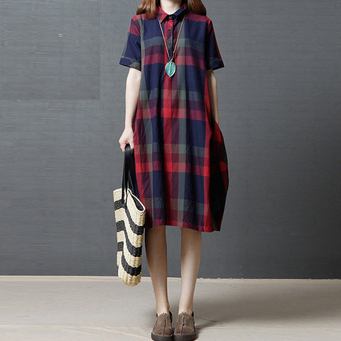 Plus Size Of the Casual Dress Have Plaid