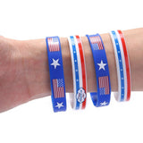 24Ct Fourth of July Patriotic Rubber Wristbands Bracelets