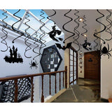 30Ct Halloween Haunted House Hanging Swirl Party Decorations - Creepy Bats/ Spiders/ Witch Ceiling Supplies - Happidtime
