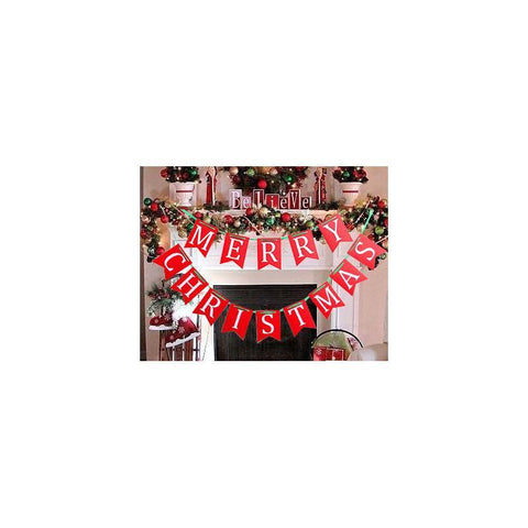 Merry Christmas Banners in Red White Green for Holiday Xmas Party Mantel Decoration Ornaments - Happidtime